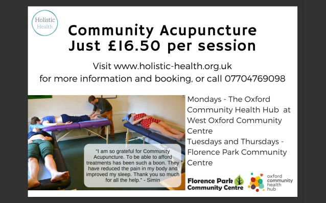 Community Acupuncture poster May 2019